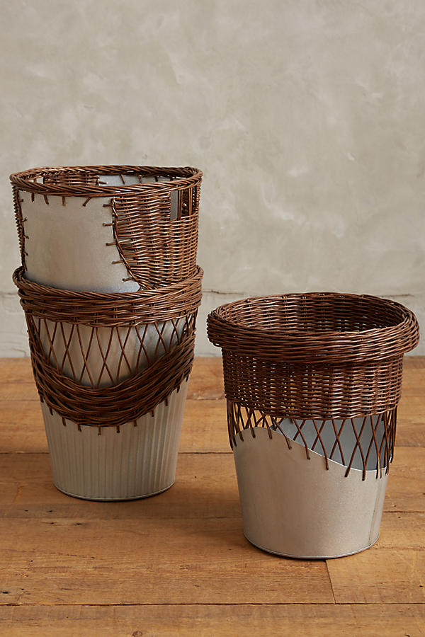 Wrapped Rattan Waste Basket