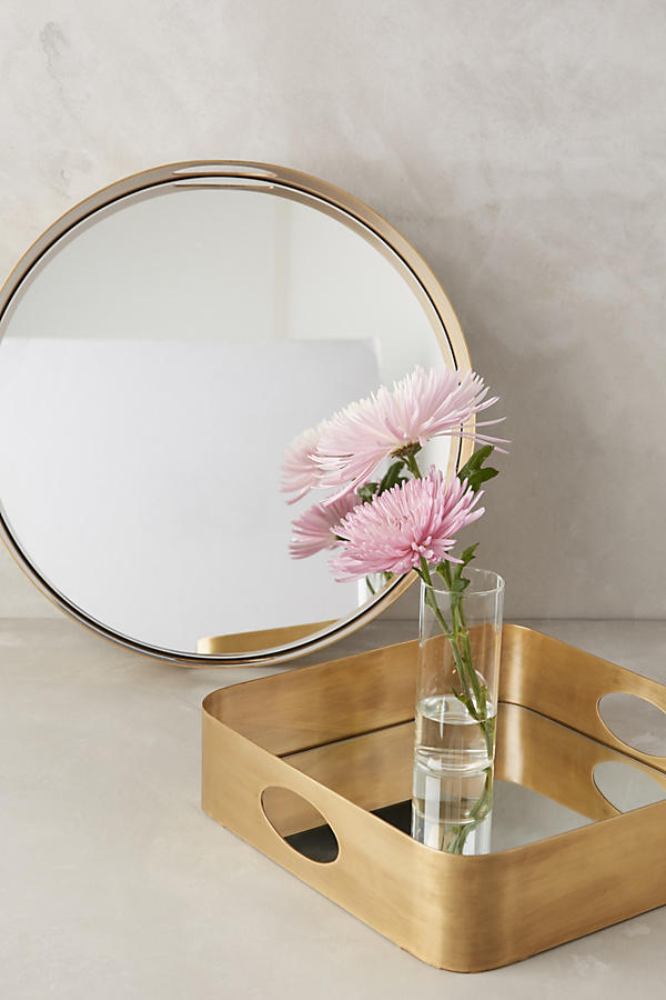Slide View: 2: Brass Mirrored Tray