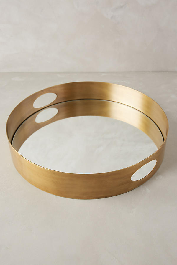 Slide View: 1: Brass Mirrored Tray