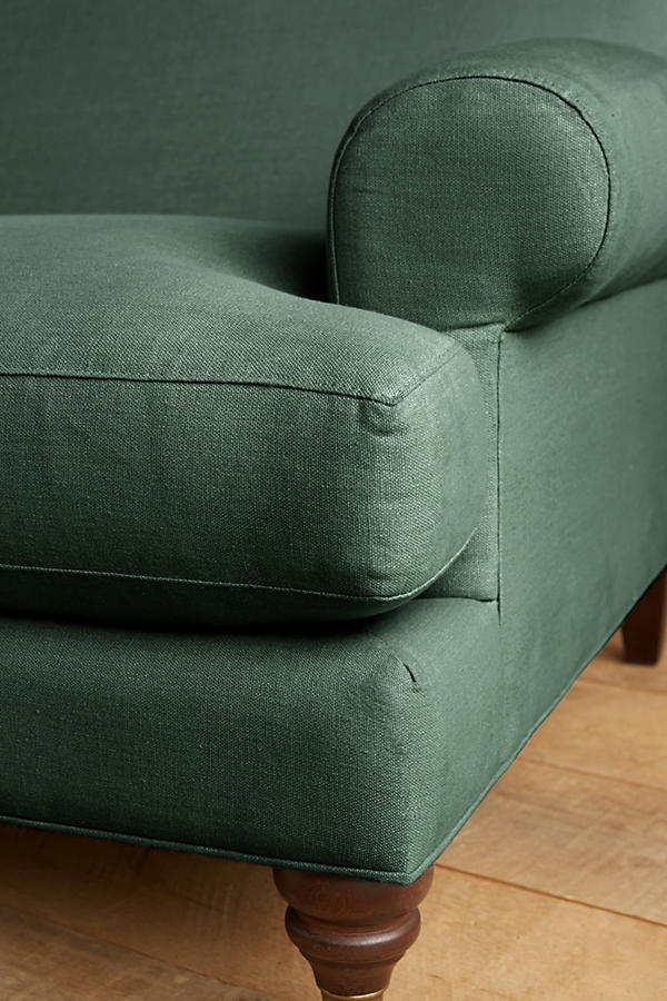 Slide View: 3: Linen Willoughby Settee, Hickory