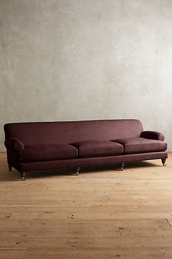 Linen Willoughby Grand Sofa, Hickory