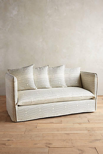 Striped Carlier Slipcover Settee