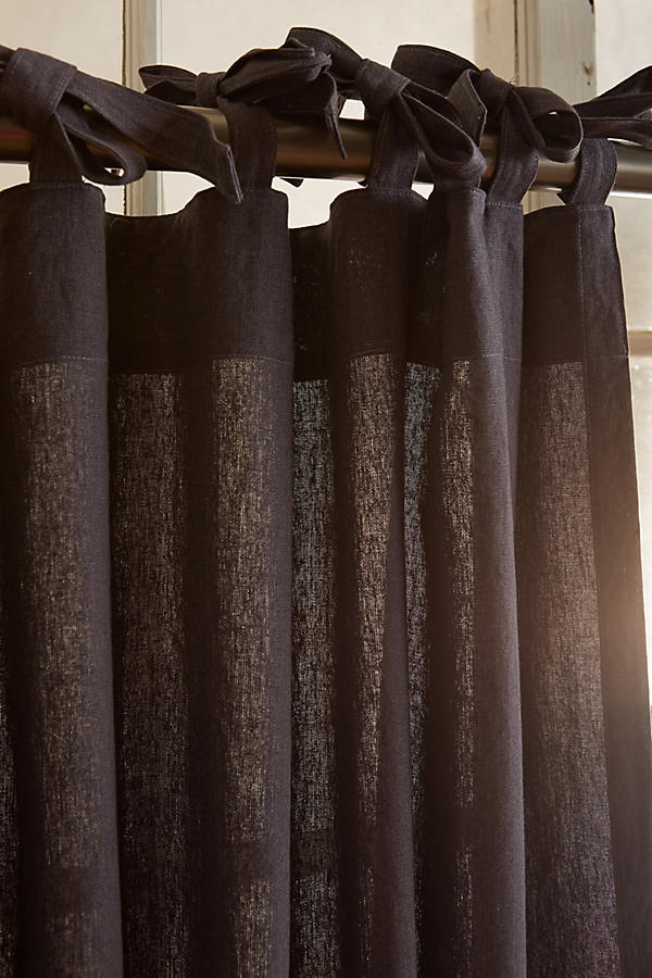 Slide View: 2: Linen Tie-Top Curtain