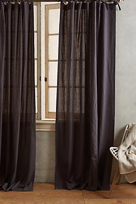Slide View: 1: Linen Tie-Top Curtain