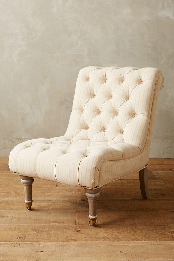 Striped Linen Orianna Slipper Chair