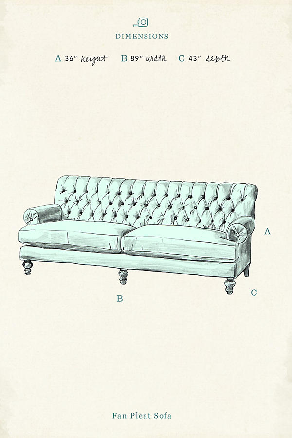 Slide View: 4: Velvet Fan Pleat Sofa