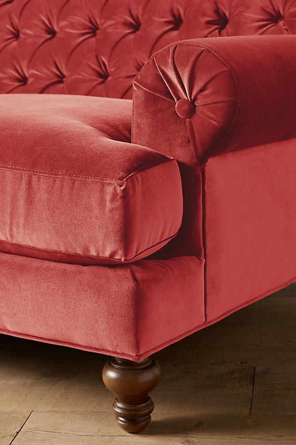 Slide View: 2: Velvet Fan Pleat Sofa