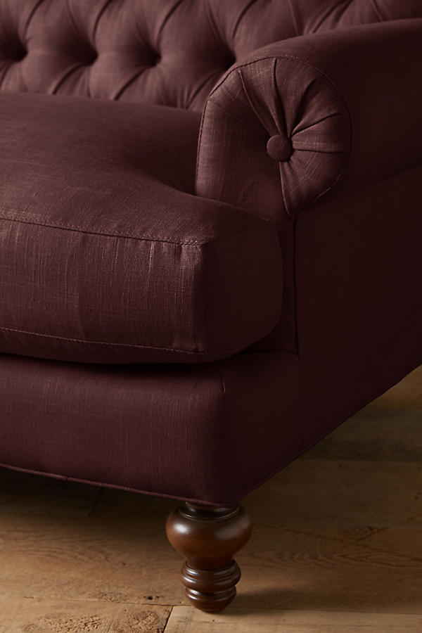 Slide View: 2: Linen Fan Pleat Sofa