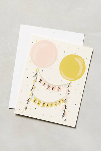 Floating Garland Birthday Card