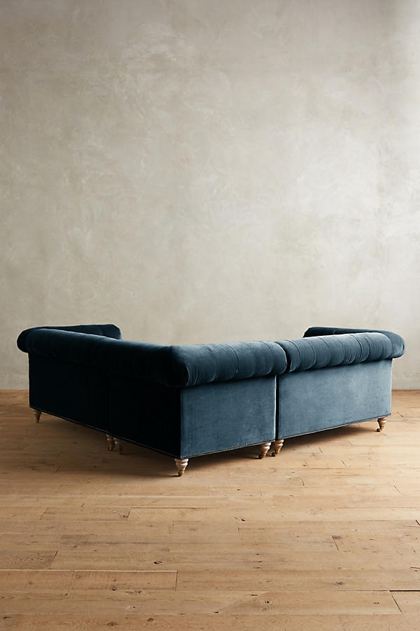 Slide View: 2: Velvet Lyre Chesterfield Sectional, Wilcox