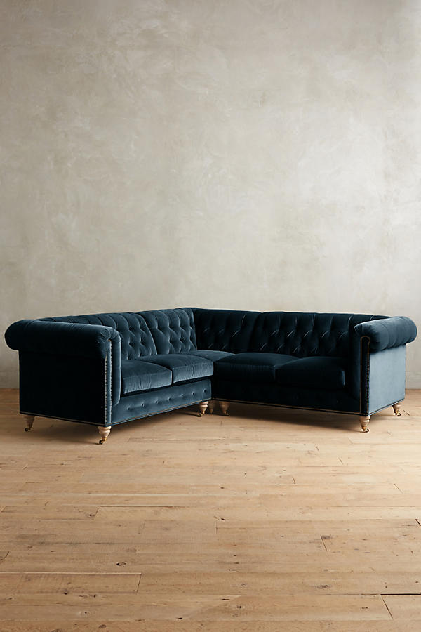Slide View: 1: Velvet Lyre Chesterfield Sectional, Wilcox