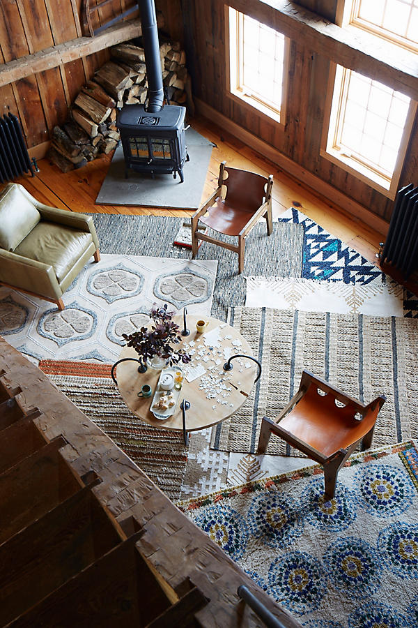 Slide View: 5: Leather-Twined Rug