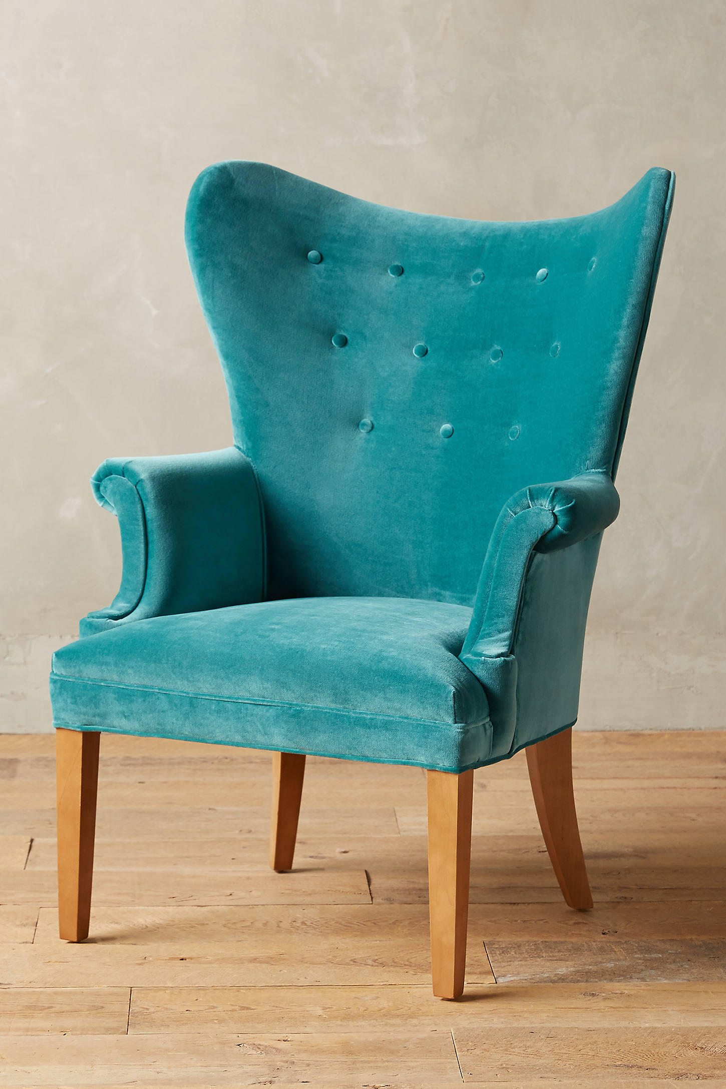 Velvet Wingback Chair
