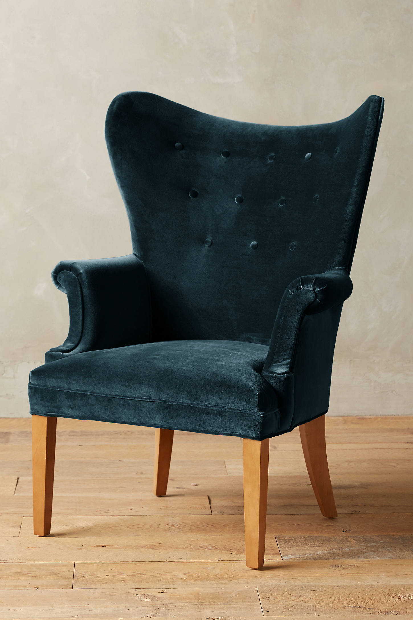Velvet Wingback Chair