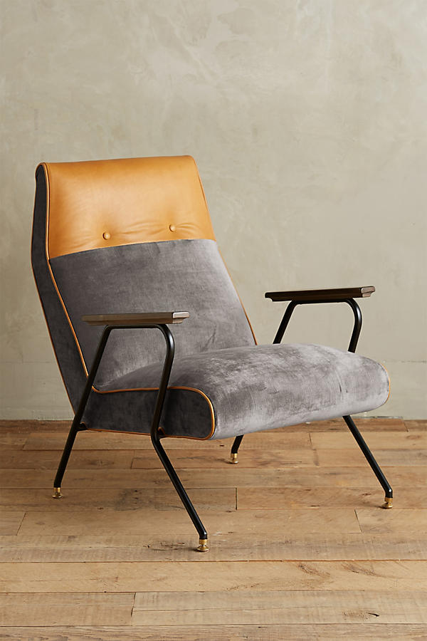 Slide View: 1: Slub Velvet Quentin Chair