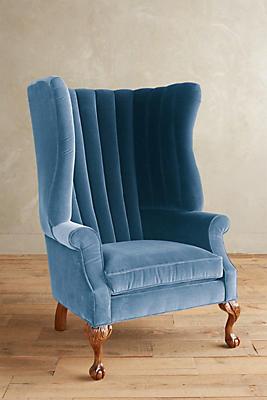 Slide View: 1: Velvet English Fireside Chair
