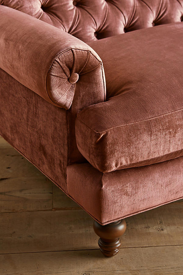 Slide View: 3: Slub Velvet Fan Pleat Sofa
