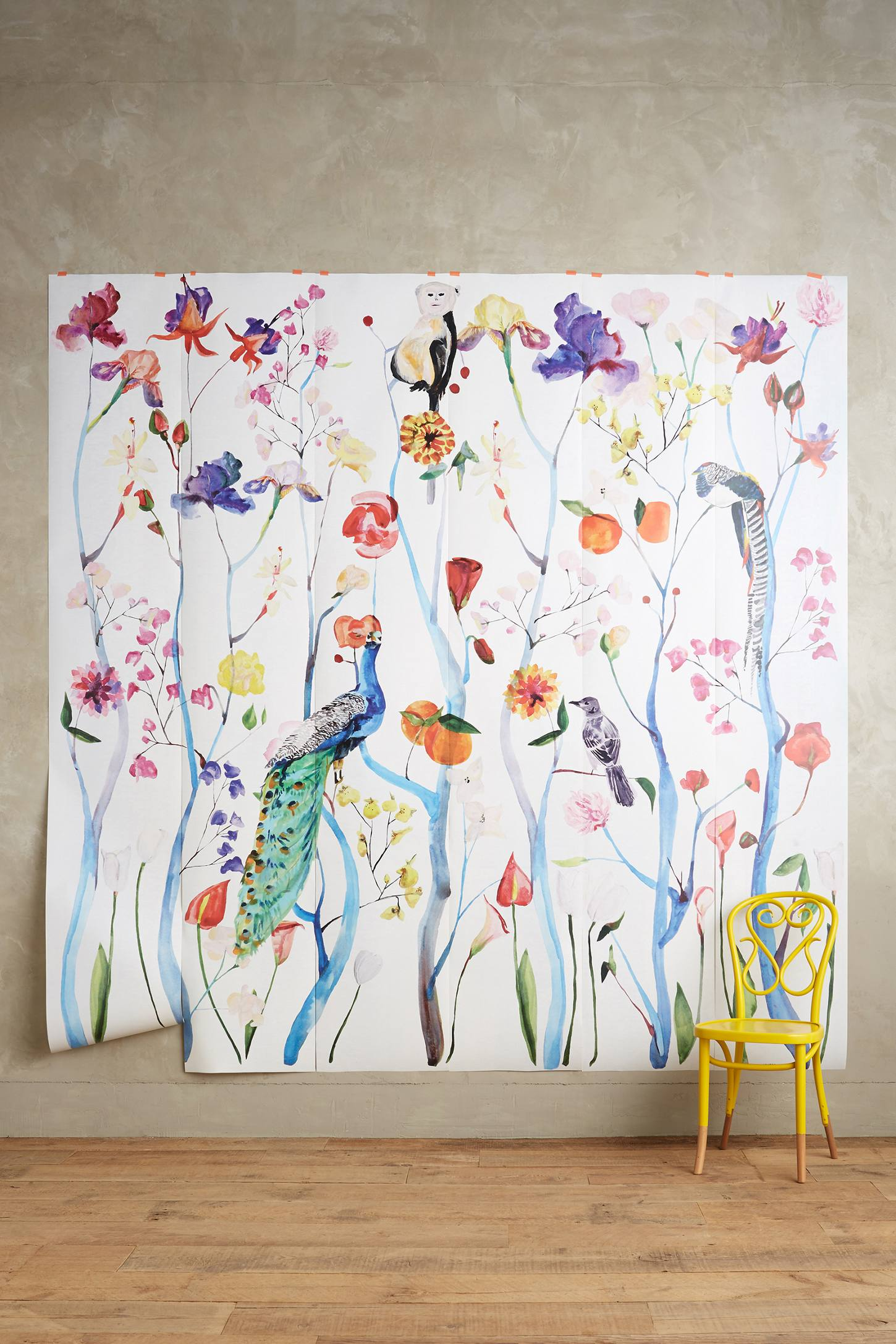 Garden chinoiserie mural anthropologie for Anthropologie wall mural