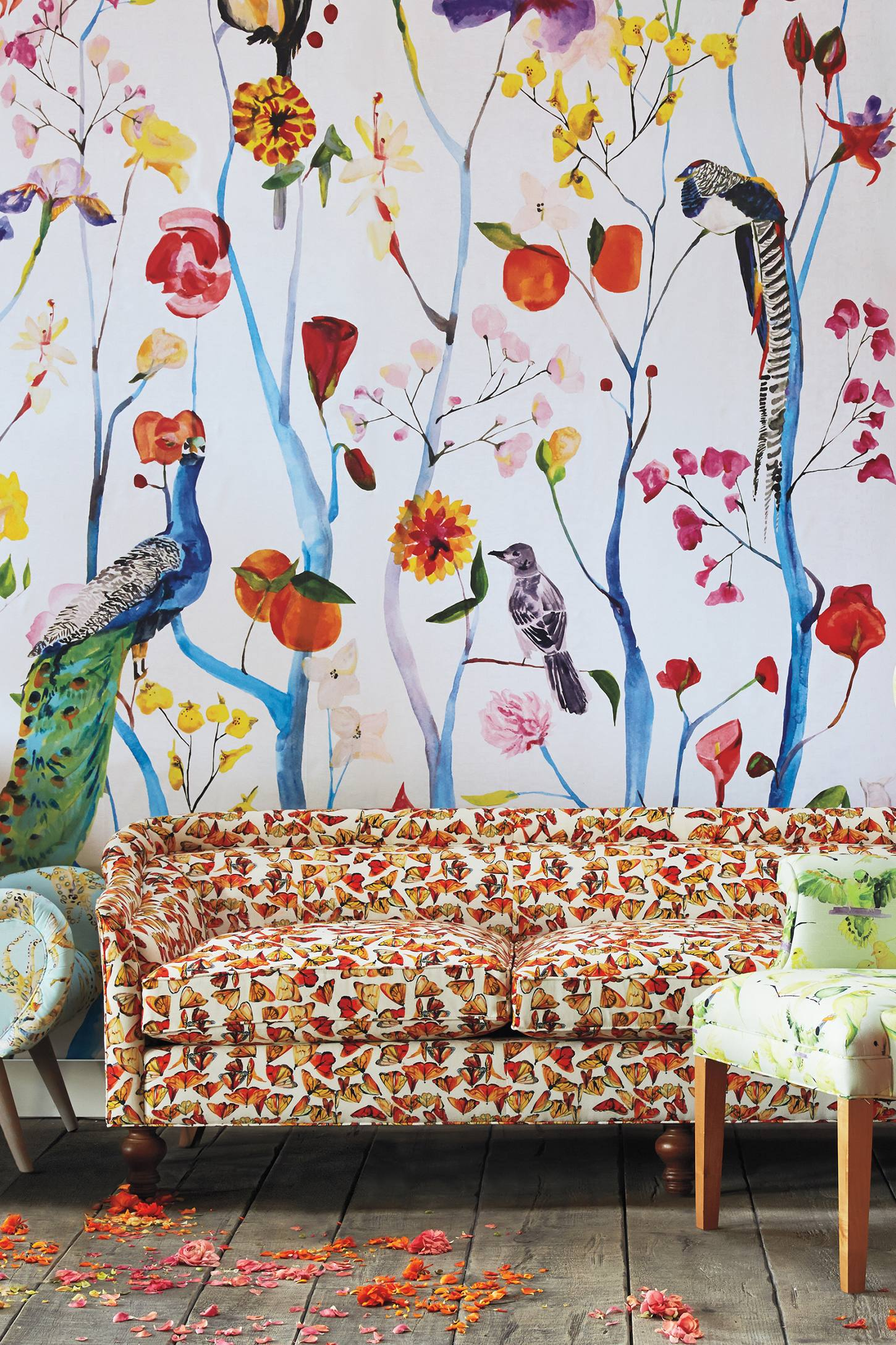 Garden chinoiserie mural anthropologie for Anthropologie wallpaper mural