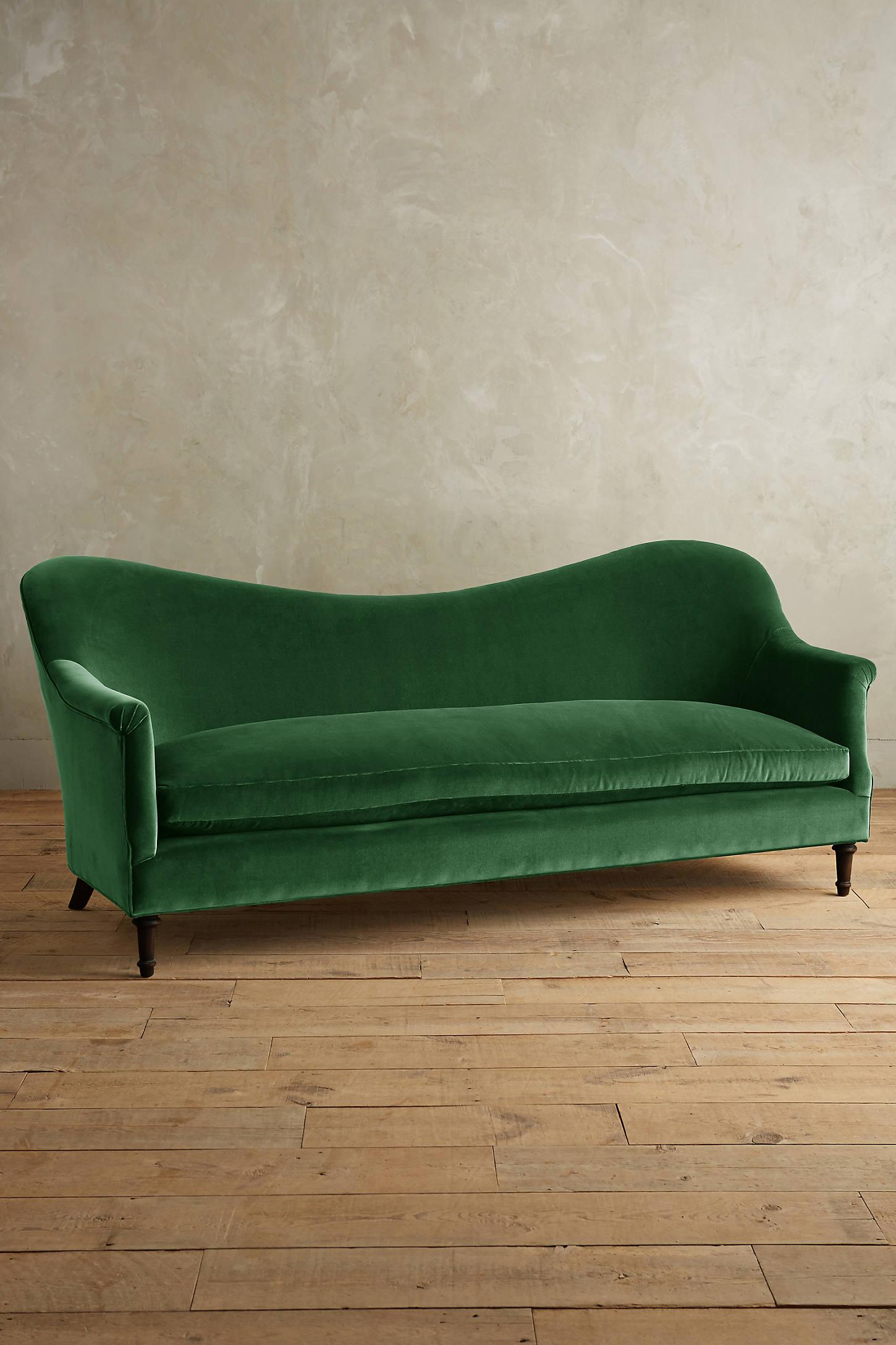 Velvet Pied-A-Terre Sofa, Hickory
