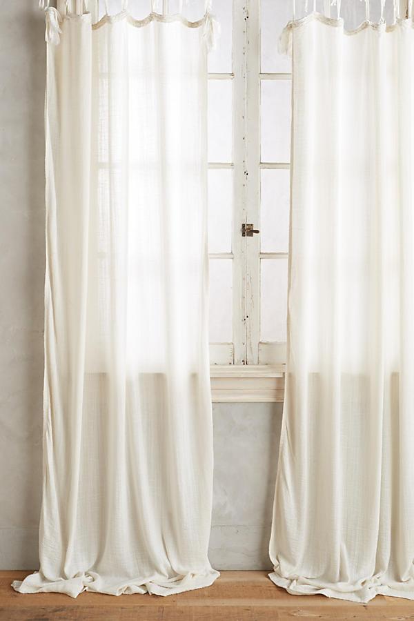 Slide View: 1: Cotton Tie-Top Curtain