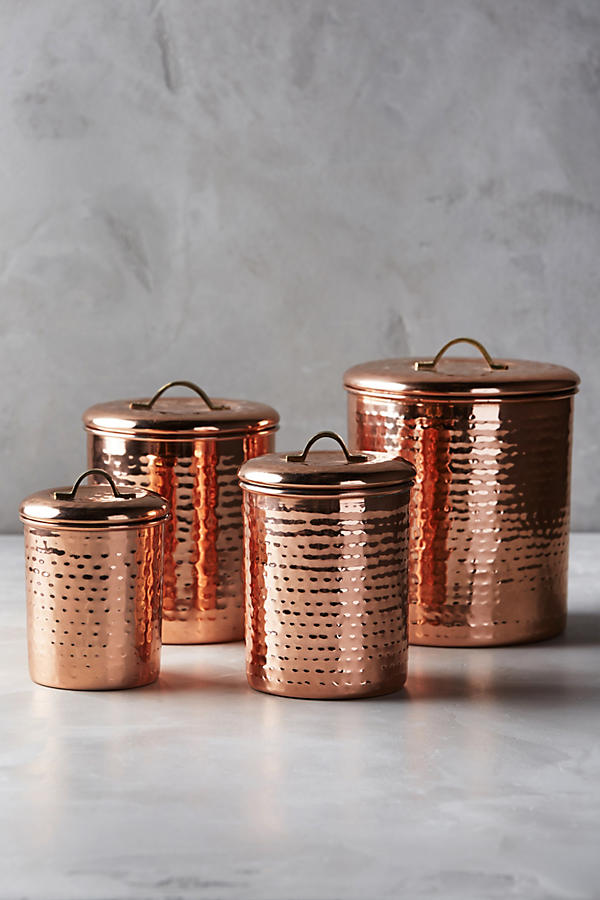 Slide View: 5: Copper-Plated Canister Set