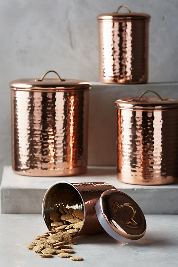 Slide View: 1: Copper-Plated Canister Set