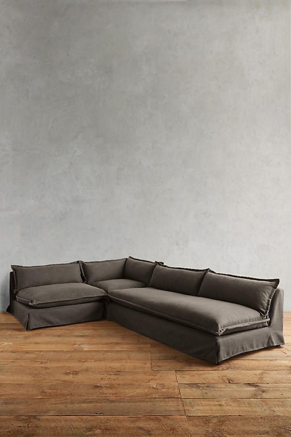 Slide View: 1: Basketweave Linen Tassa Sectional