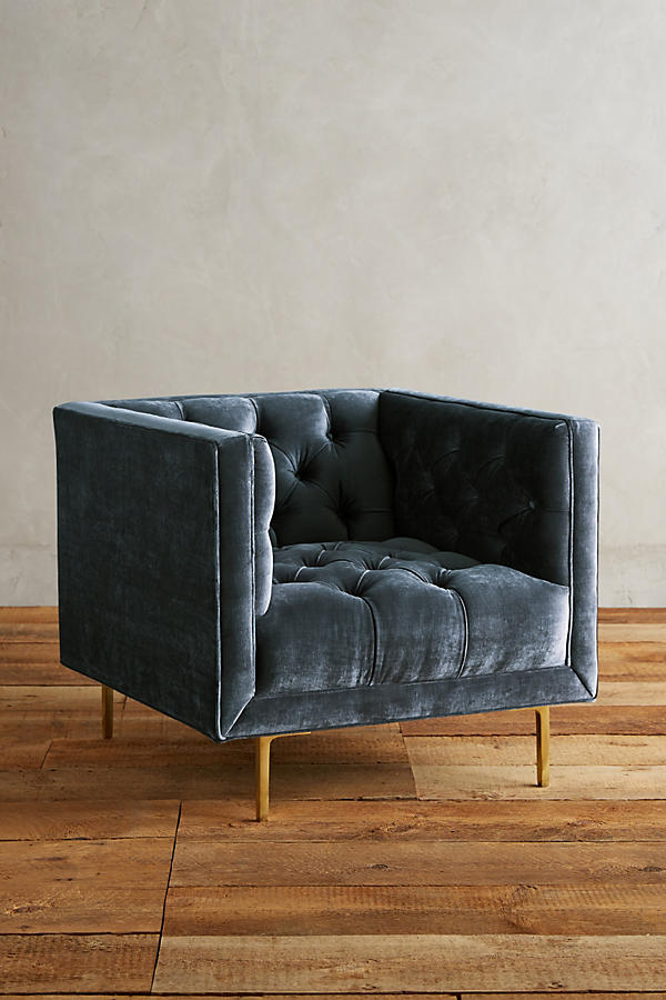 Slide View: 1: Slub Velvet Mina Chair
