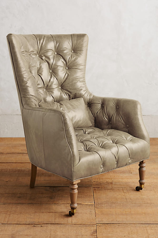 Slide View: 1: Leather Tufted Julienne Chair