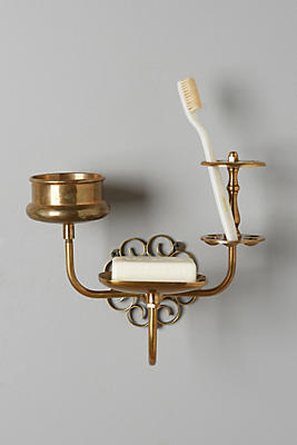 Slide View: 1: Brass Trinket Bath Caddy
