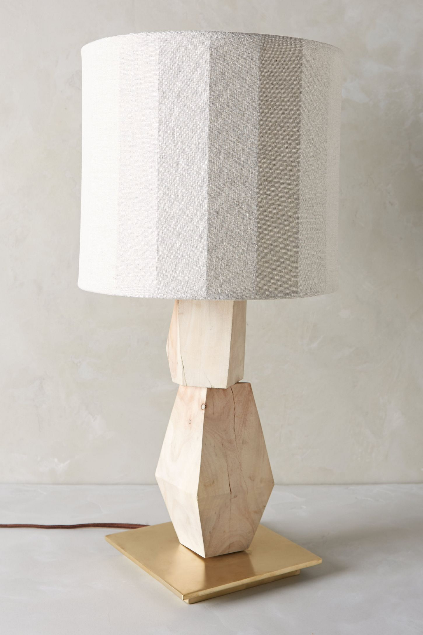 Stacked Woodblock Table Lamp Ensemble Anthropologie