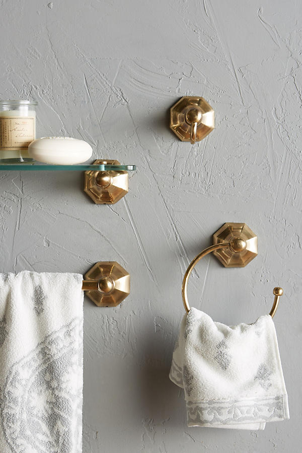 Slide View: 2: Brass Circlet Glass Shelf