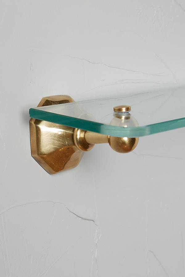 Slide View: 4: Brass Circlet Glass Shelf