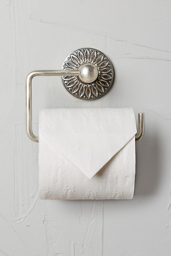 Slide View: 1: Floral Imprint Toilet Paper Holder