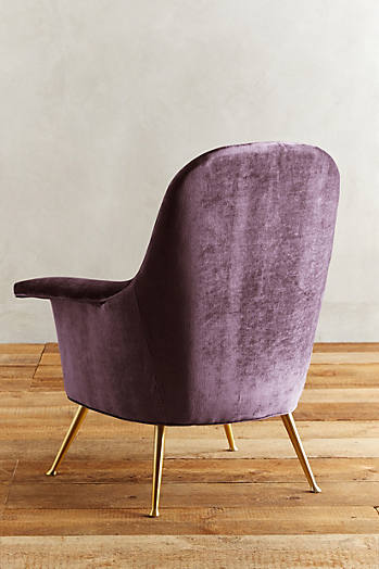 Slide View: 2: Slub Velvet Kimball Chair