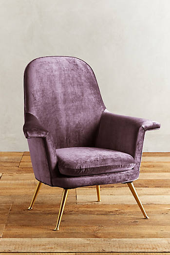 Slide View: 1: Slub Velvet Kimball Chair