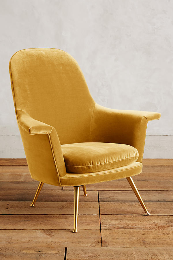 Slide View: 1: Velvet Kimball Chair