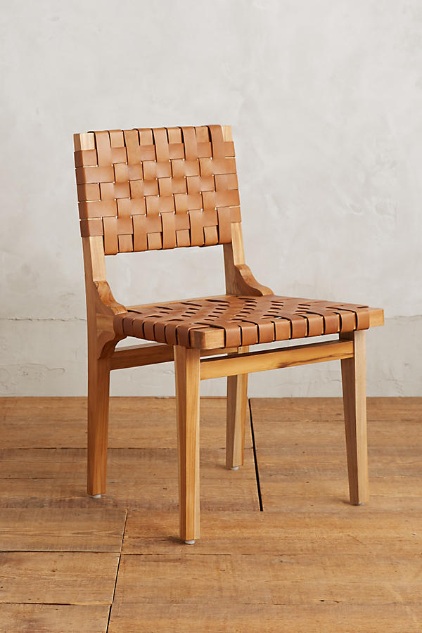 Slide View: 1: Leather Loom Dining Chair - Leather Loom Dining Chair Anthropologie