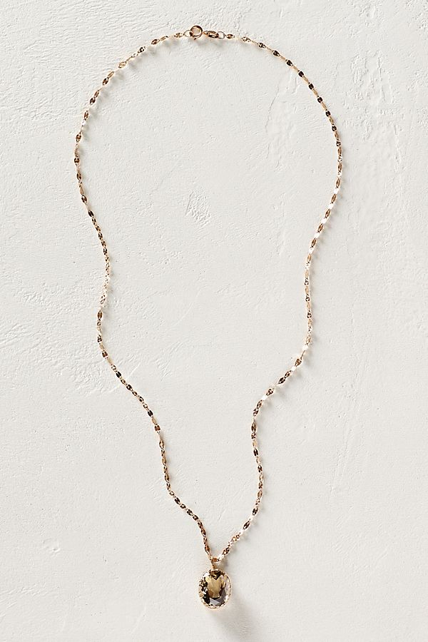 Smoky quartz pendant necklace in 14k rose gold anthropologie aloadofball Image collections