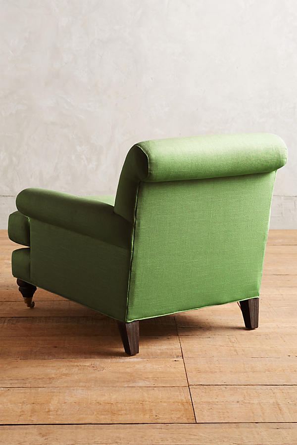 Slide View: 2: Linen Willoughby Chair, Hickory