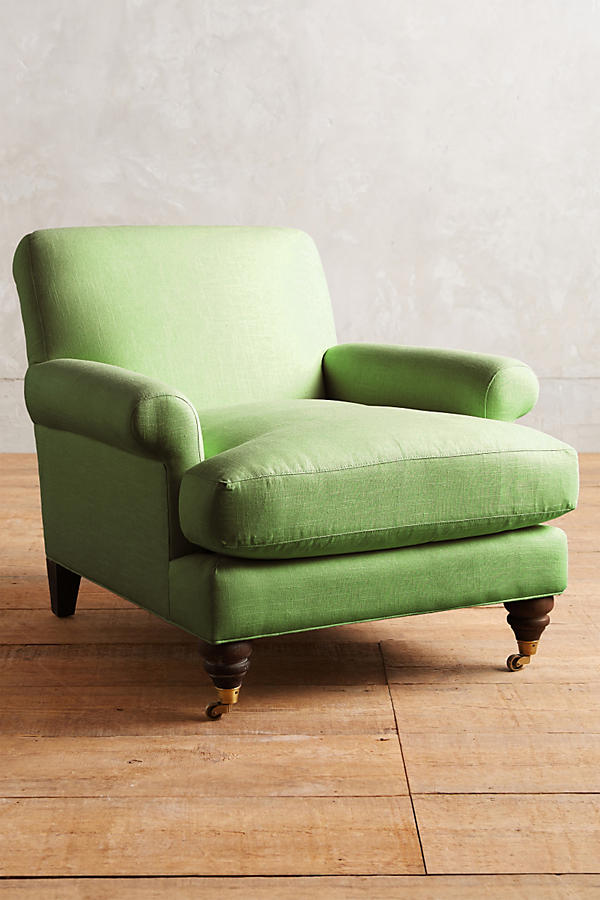 Slide View: 1: Linen Willoughby Chair, Hickory
