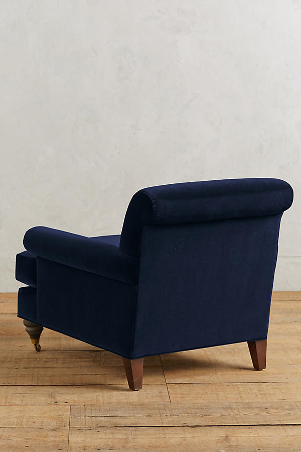 Slide View: 2: Velvet Willoughby Chair, Hickory