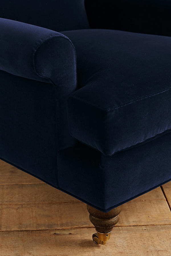 Slide View: 3: Velvet Willoughby Chair, Hickory