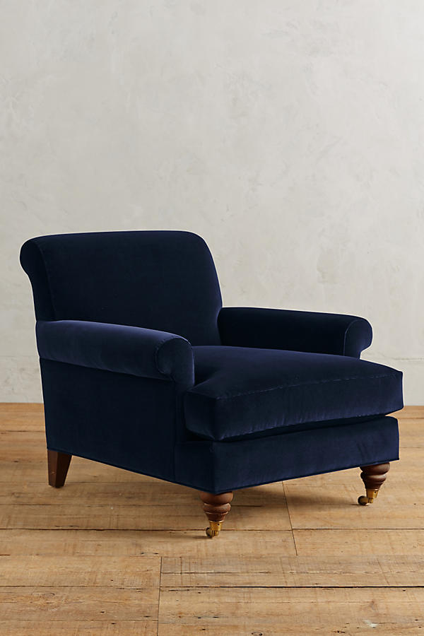 Slide View: 1: Velvet Willoughby Chair, Hickory