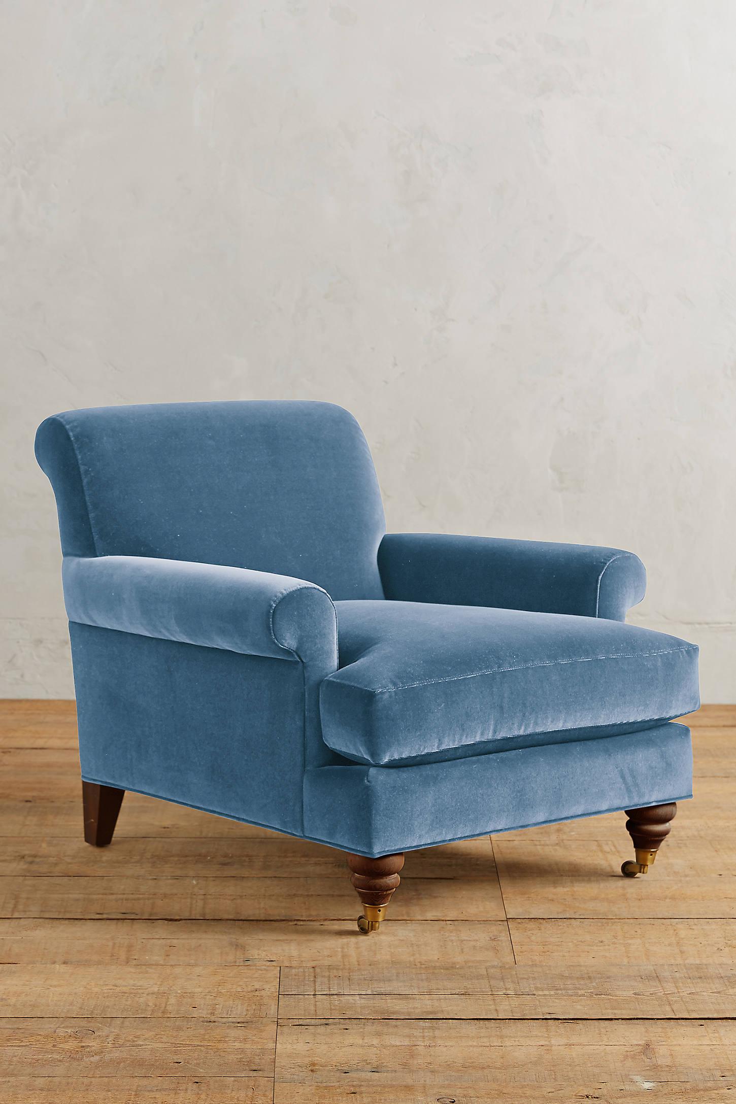 Velvet Willoughby Chair, Hickory