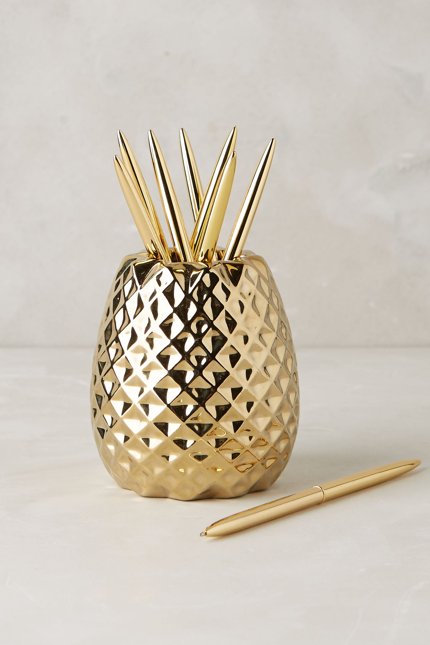 Pineapple Accessories pineapple pencil holder | anthropologie