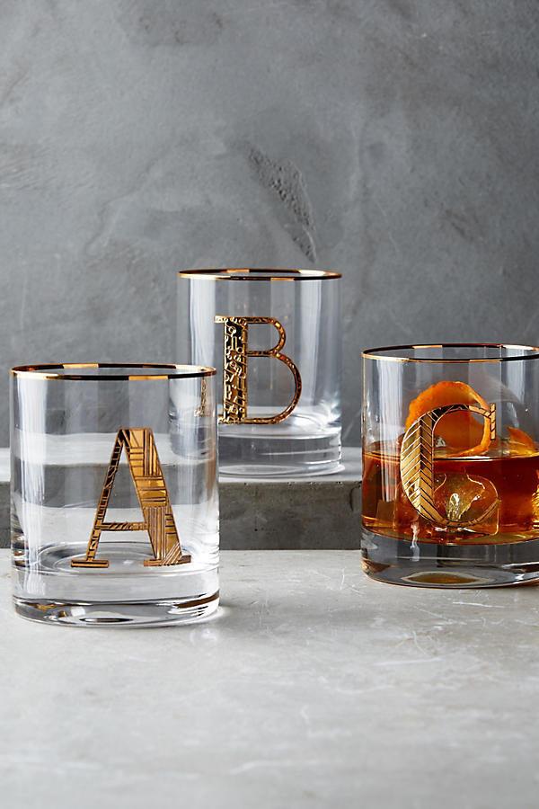 Slide View: 1: Gilded Monogram Glass