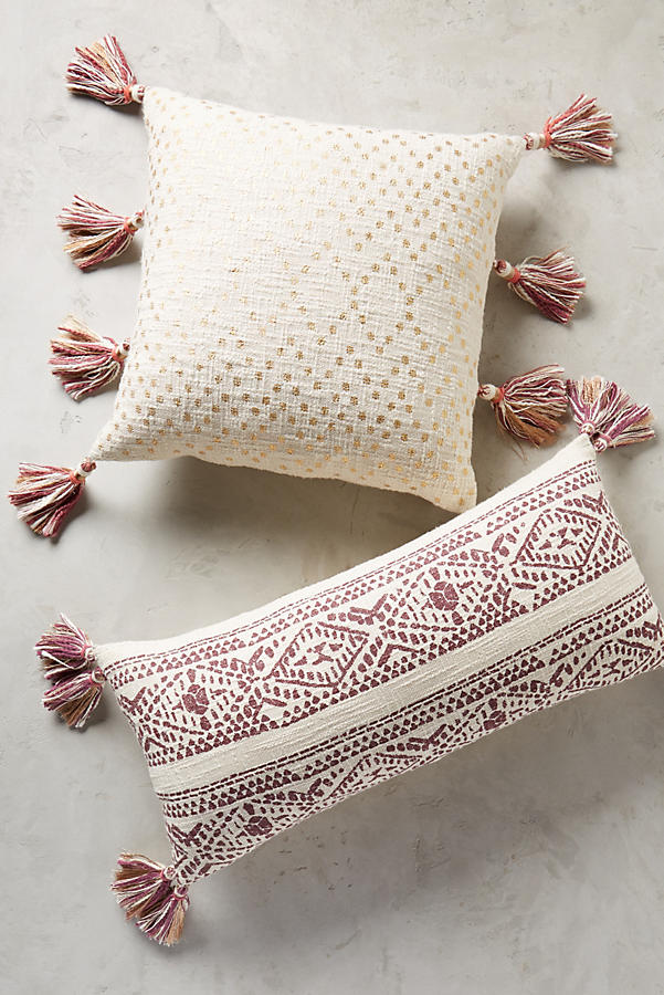 Slide View: 1: Tasseled Pointilliste Pillow