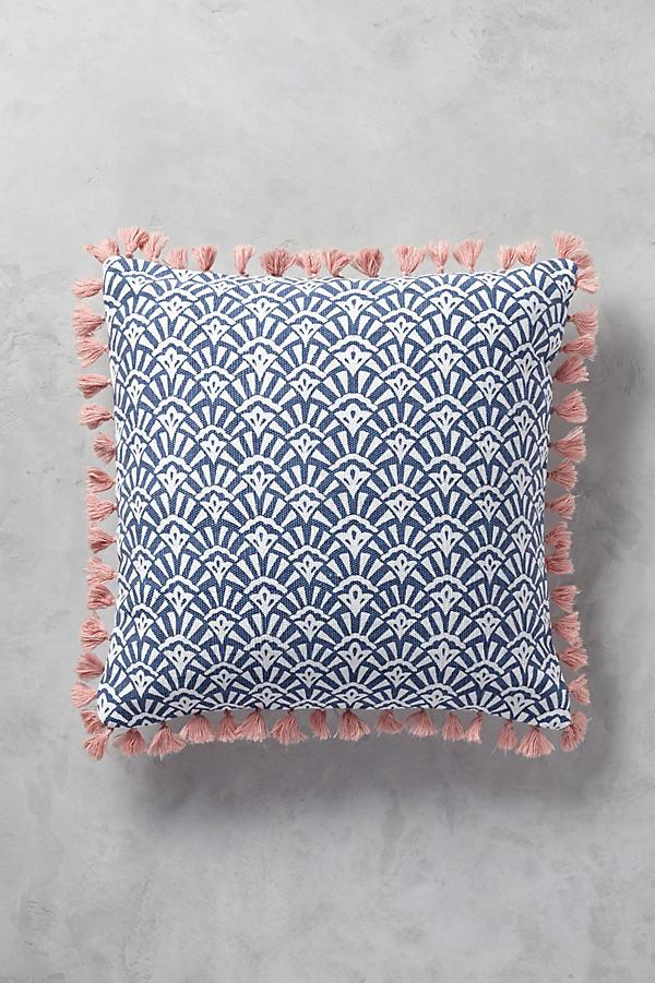 Folding Fans Cushion - Blue